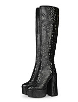 cheap -Women's Boots Flare Heel Round Toe Crotch High Boots Party Daily PU Crocodile Solid Colored Black / Booties / Ankle Boots