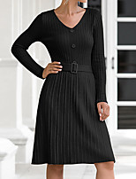 cheap -Women's Sweater Jumper Dress Knee Length Dress Black Red Beige Long Sleeve Solid Color Button Fall V Neck Casual 2021 One-Size