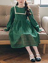 cheap -Kids Little Girls' Dress Solid Colored Wedding Lace Patchwork Green Lace Long Sleeve Elegant Princess Dresses Fall 4-12 Years