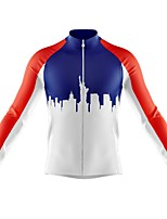 cheap -21Grams Men's Long Sleeve Cycling Jersey Spandex Polyester Blue+White Color Block Funny Bike Top Mountain Bike MTB Road Bike Cycling Quick Dry Moisture Wicking Breathable Sports Clothing Apparel