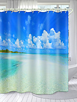 cheap -Sea Water And Blue Sky Series Digital Printing Shower Curtain Shower Curtains  Hooks Modern Polyester New Design