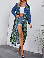 cheap -Women's Shirt Dress Maxi long Dress Blue Long Sleeve Print Pocket Patchwork Print Fall Spring Shirt Collar Work Casual 2021 S M L XL XXL