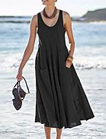 cheap -Women's Sundress Midi Dress Blue Black Brown Light Blue Sleeveless Solid Color Pocket Summer Round Neck Casual 2021 S M L XL XXL 3XL