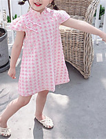 cheap -Kids Little Girls' Dress Floral / Botanical Plaid / Check Daily Wear Blue Blushing Pink Short Sleeve Chinese Style Dresses Summer 1-6 Years / Cotton