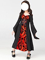 cheap -Witch Vampire Dress Kid's Girls' Halloween Halloween Halloween Festival / Holiday Terylene Red+Black Easy Carnival Costumes Solid Color
