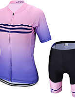 cheap -21Grams Women's Short Sleeve Cycling Jersey with Shorts Summer Spandex Pink Gradient Bike Quick Dry Moisture Wicking Sports Gradient Mountain Bike MTB Road Bike Cycling Clothing Apparel / Stretchy