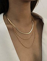 cheap -punk gold layered necklace simple snake choker necklaces round dainty necklace chain for women and girls (style1)