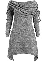 cheap -Women's A Line Dress Knee Length Dress Gray Red Long Sleeve Solid Color Ruched Fall Round Neck Casual 2021 S M L XL XXL 3XL 4XL 5XL
