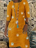 cheap -Women's A Line Dress Knee Length Dress Yellow Half Sleeve Print Print Fall Round Neck Casual 2021 S M L XL XXL 3XL
