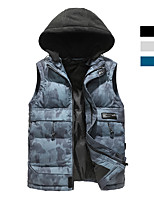 cheap -Men's Fishing Vest Hiking Vest Quilted Puffer Vest Sleeveless Outerwear Trench Coat Top Outdoor Thermal Warm Windproof Warm Front Zipper Autumn / Fall Winter Spring Sporty Stripe Print Polyester Camo
