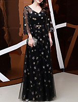 cheap -A-Line Glittering Elegant Wedding Guest Formal Evening Dress V Neck Long Sleeve Floor Length Tulle with Sash / Ribbon Pattern / Print 2021