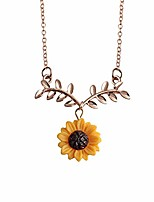 cheap -women fashion elegant cute sunflower leaf branch pendant clavicle necklace birthday jewelry for party family daily gift - rose gold