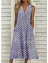 cheap -Women's A Line Dress Maxi long Dress Blue Purple Green Sleeveless Check Print Spring Summer Y Neck Active Casual 2021 S M L XL XXL