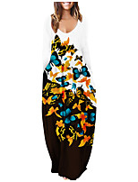 cheap -Women's T Shirt Dress Tee Dress Maxi long Dress Black And White White+butterfly print White+peacock feathers Black + butterfly print Blue Green Dark Green Rose Red Long Sleeve Multi Color Butterfly