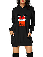 cheap -Women's A Line Dress Short Mini Dress Green White Black Red Long Sleeve Print Pocket Print Fall Winter Hooded Casual Christmas 2021 S M L XL XXL 3XL