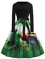 cheap -Women's Swing Dress Midi Dress Green Long Sleeve Print Print Fall Winter Round Neck Casual 2021 S M L XL XXL