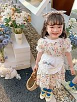 cheap -kids colorful floral printed dresses girls petal lapel puff sleeve princess dress+bird flowers embroidery apron 2pcs sets q0105