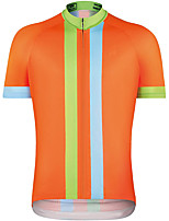 cheap -21Grams Men's Short Sleeve Cycling Jersey Summer Spandex Orange Stripes 3D Bike Top Mountain Bike MTB Road Bike Cycling Quick Dry Moisture Wicking Sports Clothing Apparel / Stretchy / Athleisure