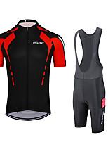 cheap -Women's Men's Short Sleeve Cycling Jersey Cycling Jersey with Shorts Cycling Pants Summer Red+Black Black Bike Quick Dry Moisture Wicking Sports Road Bike Cycling Clothing Apparel / Stretchy