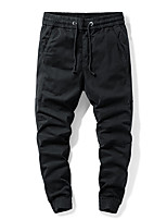 cheap -Men's Work Pants Hiking Cargo Pants Hiking Pants Trousers Drawstring Solid Color Winter Outdoor Regular Fit Thermal Warm Windproof Quick Dry Front Zipper Spandex Cotton Below Knee Pants / Trousers