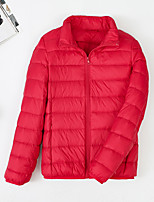cheap -Women's Sports Puffer Jacket Hiking Down Jacket Hiking Windbreaker Winter Outdoor Solid Color Thermal Warm Windproof Ultra Light (UL) Warm Outerwear Trench Coat Top Full Length Visible Zipper Skiing
