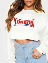 cheap -Women's Sweatshirt Crop Top Text Crop Top Print Casual Sports Hot Stamping Cotton Active Streetwear Hoodies Sweatshirts  Yellow Gray White