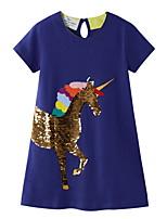 cheap -Kids Little Girls' Dress Unicorn Sequin Daily Sequins Print Dusty Blue Knee-length Short Sleeve Basic Dresses Summer Regular Fit 3-10 Years