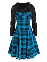 cheap -Women's A Line Dress Knee Length Dress Blue Green Red Long Sleeve Plaid Print Fall Hooded Casual 2021 S M L XL XXL