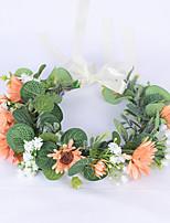 cheap -Wreath Headdress Simulation Gypsophila Daisy Flower Eucalyptus Money Leaf Hair Ornament Scenic Spot Antique Flower
