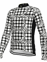 cheap -21Grams Men's Long Sleeve Cycling Jersey Spandex Polyester Black Plaid Checkered Floral Botanical Funny Bike Top Mountain Bike MTB Road Bike Cycling Quick Dry Moisture Wicking Breathable Sports