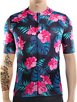 cheap -21Grams Men's Short Sleeve Cycling Jersey Summer Spandex Polyester Red+Blue Floral Botanical Funny Bike Top Mountain Bike MTB Road Bike Cycling Quick Dry Moisture Wicking Breathable Sports Clothing