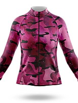 cheap -21Grams Women's Long Sleeve Cycling Jersey Spandex Rose Red Camo / Camouflage Bike Top Mountain Bike MTB Road Bike Cycling Quick Dry Moisture Wicking Sports Clothing Apparel / Stretchy / Athleisure