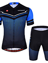 cheap -Men's Short Sleeve Cycling Jersey with Shorts Summer Spandex Red Blue Polka Dot Stripes Bike Quick Dry Sports Polka Dot Mountain Bike MTB Road Bike Cycling Clothing Apparel / Stretchy / Athletic