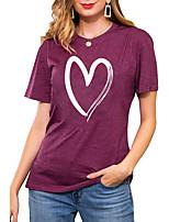 cheap -Women's T shirt Graphic Heart Print Round Neck Basic Vintage Tops Regular Fit Blue Blushing Pink Wine