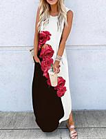 cheap -Women's A Line Dress Maxi long Dress Blue Yellow Rainbow White Red Sleeveless Floral Butterfly Print Fall Round Neck Casual 2021 S M L XL XXL 3XL