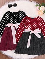 cheap -Kids Little Girls' Dress Polka Dot Daily Bow Wine Black Red Knee-length Long Sleeve Basic Dresses Fall Regular Fit 3-10 Years