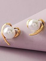 cheap -Women's Earrings Heart Sweet Heart Stylish Simple Elegant Romantic Sweet Imitation Pearl Earrings Jewelry White For Wedding Birthday Prom Date Promise 1 Pair