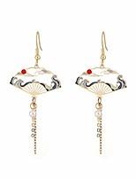 cheap -chinese style folding fan modeling crane cloud hanging dangle national style earrings for women hollow asymmetric metal jewelry (folding fan earring-gold)