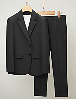 cheap -Men's Wedding Suits Notch Standard Fit Single Breasted Two-buttons Straight Flapped Textured Cotton
