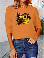cheap -Women's Halloween Painting T shirt Graphic Text Pumpkin Long Sleeve Print Round Neck Basic Halloween Tops Cotton Orange White Black