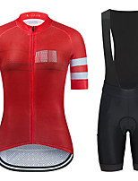 cheap -21Grams Women's Short Sleeve Cycling Jersey with Bib Shorts Summer Spandex Red Stripes Bike Quick Dry Moisture Wicking Sports Stripes Mountain Bike MTB Road Bike Cycling Clothing Apparel / Stretchy