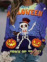 cheap -Women's Sweatshirt Skull Pumpkin Print Halloween Casual 3D Print Streetwear Halloween Hoodies Sweatshirts  Purple