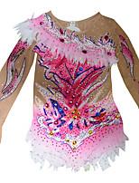 cheap -Figure Skating Dress Women's Girls' Ice Skating Dress Red / White Spandex High Elasticity Training Competition Skating Wear Handmade Patchwork Crystal / Rhinestone Sleeveless Ice Skating Figure