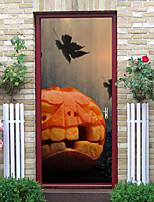 cheap -Halloween 2pcs Self-adhesive Face Big Pumpkin Door Sticker Living Room Diy Decoration Home Waterproof Wall Sticker 77x200cm