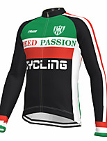 cheap -21Grams Men's Long Sleeve Cycling Jersey Spandex Green Color Block Bike Top Mountain Bike MTB Road Bike Cycling Quick Dry Moisture Wicking Sports Clothing Apparel / Athleisure