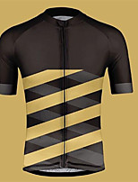 cheap -CAWANFLY Men's Short Sleeve Cycling Jersey Summer Polyester Black / Yellow Geometic Funny Bike Tee Tshirt Jersey Top Road Bike Cycling Quick Dry Breathable Sports Clothing Apparel / Micro-elastic