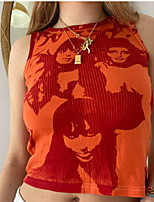 cheap -Women's Portrait Vest Portrait Patchwork Print Round Neck Basic Tops Orange