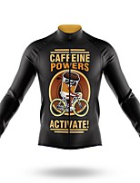 cheap -21Grams Men's Long Sleeve Cycling Jersey Spandex Polyester Black Cartoon Funny Bike Top Mountain Bike MTB Road Bike Cycling Quick Dry Moisture Wicking Breathable Sports Clothing Apparel / Stretchy