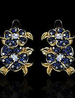 cheap -Women's AAA Cubic Zirconia Earrings Monogram Petal Elegant Fashion Vintage European Earrings Jewelry Royal Blue For Birthday Party Evening Gift Date Festival 1 Pair