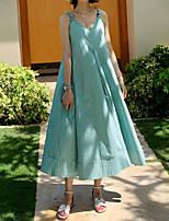 cheap -Women's Loose Maxi long Dress Green White Black Strap Solid Color Modern Style Spring Summer V Neck Casual 2021 M L XL XXL XXXL